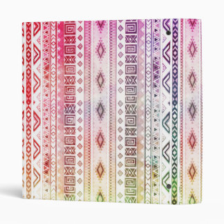 Modern Red Watercolor Aztec Andes Tribal Pattern Binder