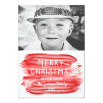 Modern Red Watercolor Merry Christmas Photo Card