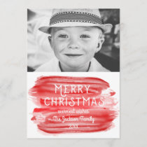 Modern Red Watercolor Merry Christmas Photo Holiday Card