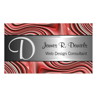 Modern Red White 3D Liquid Swirls Pattern Double-Sided Standard Business Cards (Pack Of 100)