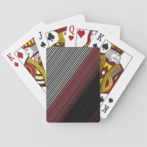 Modern Red White and Black Stripes Pattern Playing Cards