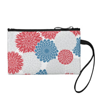 Modern Red White and Blue Flowers Pattern Change Purse