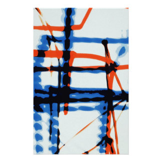 Modern red white and blue print stationery