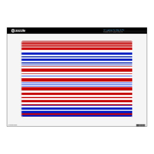 """Modern red white and blue stripes decal for 15"""" laptop"""