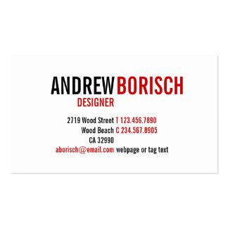 Modern Red White Black Business Card Template