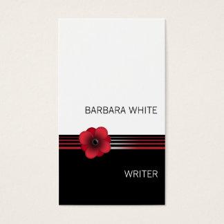 Modern red white black Floral flower business card