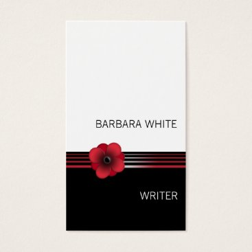 Professional Business Modern red white black Floral flower business card