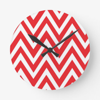 Modern red white chevron zigzag clock
