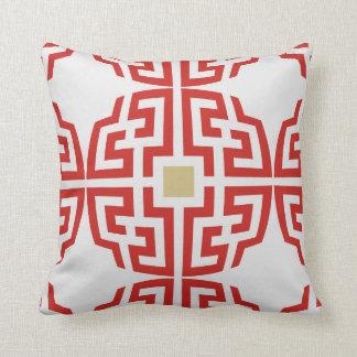 Modern red white chinoiserie chic geometric pillow