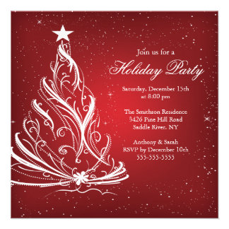 Modern Red & White Christmas Holiday Party Personalized Invite
