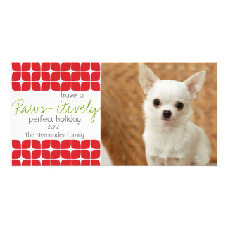 Modern Red & White Christmas Pet Holiday Card! Card