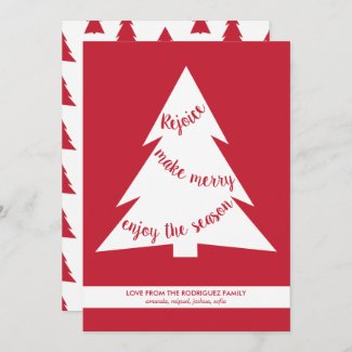 Modern Red White Christmas Trees Holiday Script
