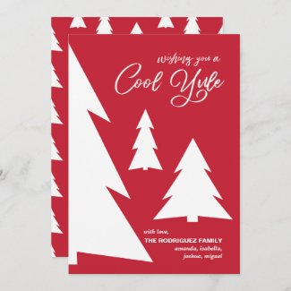 Modern Red White Cool Yule Script Geometric Trees Holiday Card
