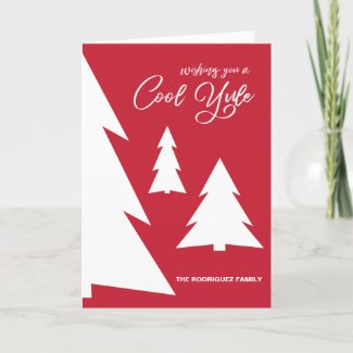 Modern Red White Cool Yule Script Trees Your Photo Holiday Card