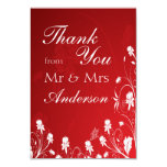 Modern Red & White Floral Wedding Thank You Card