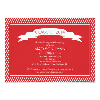 Modern Red White Graduation Party Invitation