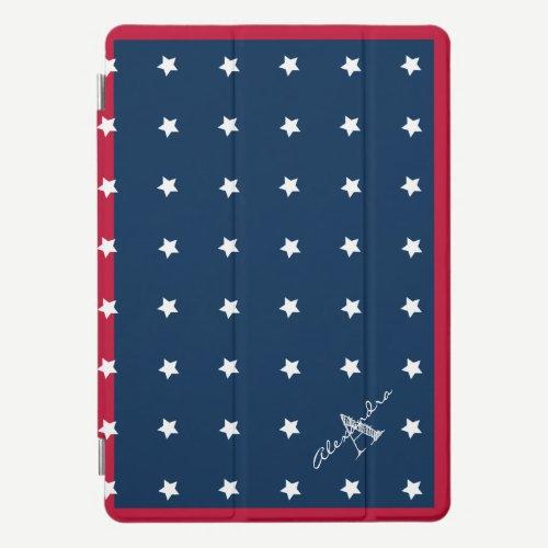 Modern Red White Navy Blue Stars Pattern Monogram iPad Pro Cover