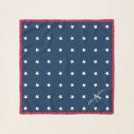 "Modern Red White Navy Blue Stars Pattern Monogram Scarf<br><div class=""desc"">Modern Red White and Navy Blue Stars Pattern Name Monogram</div>"