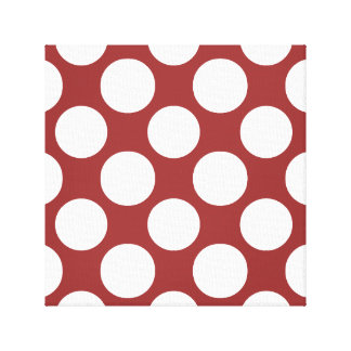 Modern Red White Polka Dots Pattern Gallery Wrap Canvas