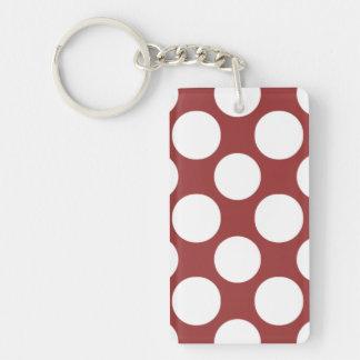 Modern Red White Polka Dots Pattern Keychain