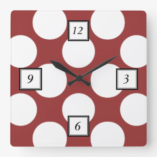 Modern Red White Polka Dots Pattern Square Wall Clock