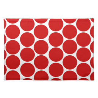 MODERN RED, WHITE POLKA DOTS PLACE MAT