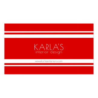 Modern Red & White Stripes Business Card