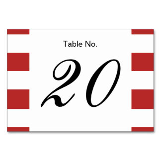 Modern Red White Stripes Pattern Table Card