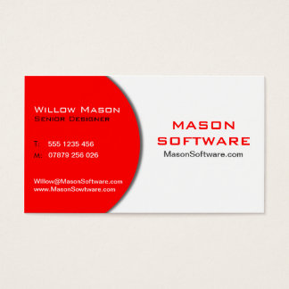 Modern Red & White Technology Business Card