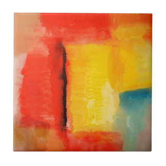 Modern Red Yellow Abstract Painting Ceramic Tile