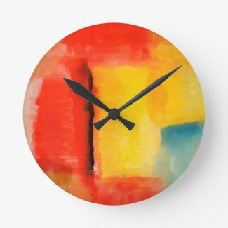 Modern Red Yellow Abstract Painting Round Wall Clocks
