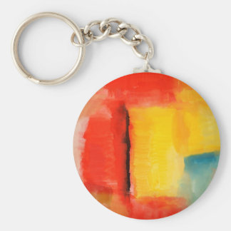Modern Red Yellow Abstract Painting Keychain