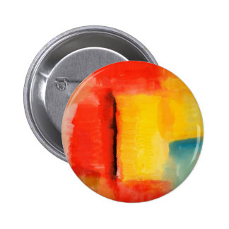 Modern Red Yellow Abstract Painting Pinback Button