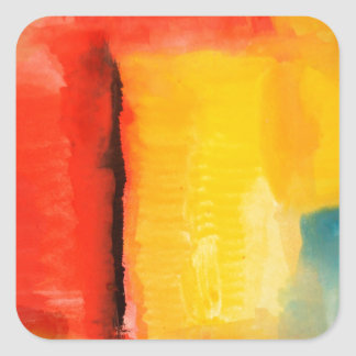 Modern Red Yellow Abstract Painting Square Stickers