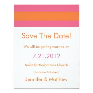 "Modern Redux Pink Orange Save The Date Cards 4.25"" X 5.5"" Invitation Card"