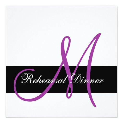 Modern Rehearsal Dinner Invitation Monogram Purple