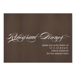 "Modern Rehearsal Dinner Invitations Brown Texture 4.5"" X 6.25"" Invitation Card"