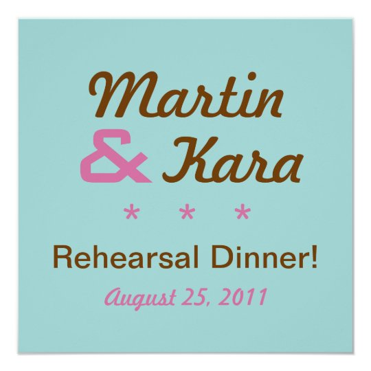 Modern Rehearsal Dinner Square Invitation (Blue)