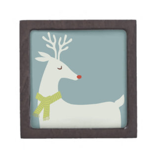 Modern Reindeer Holiday Giftbox Premium Trinket Box