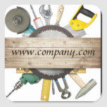 Modern Renovation Handyman Carpentry Construction Square Sticker