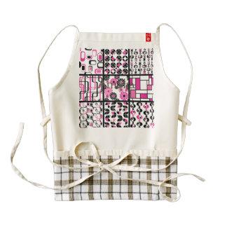 modern,retro,70's,pattern,graphic,black,pink,white zazzle HEART apron