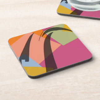 Modern retro abstract art drink coaster
