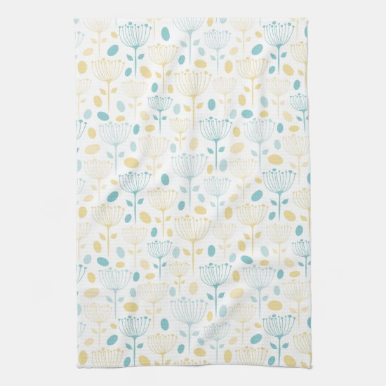Modern Retro Aqua and Yellow Floral Kitchen Towel
