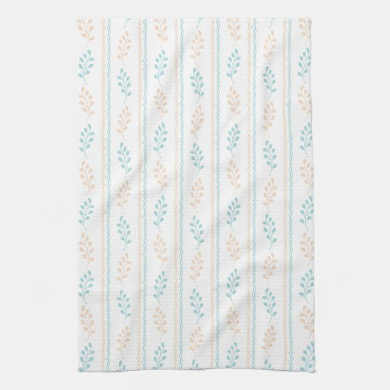 Modern Retro Aqua and Yellow Leaves Kitchen Towel
