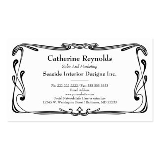 Modern Retro Art Deco Scroll Border Simple Black Business Card
