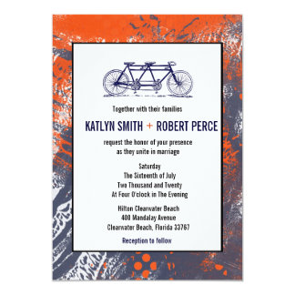 Modern Retro Artist Tandem Bicycle Wedding Invites