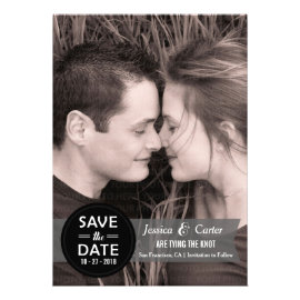 Modern Retro Badge and Banner Photo Save the Date Personalized Invitations
