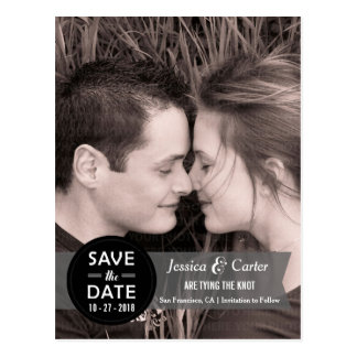 Modern Retro Badge and Banner Photo Save the Date Postcard