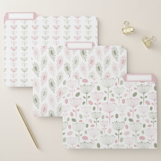 Modern Retro Blush Pink and Green File Folder