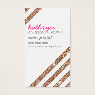 MODERN RETRO bold striped cool rose gold glitter Business Card